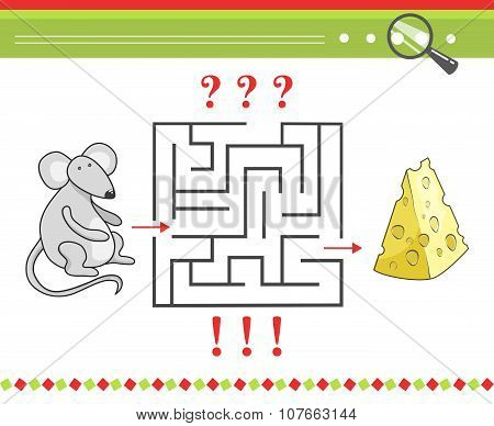 Labyrinth or maze game for children with cartoon vector mouse character and cheese