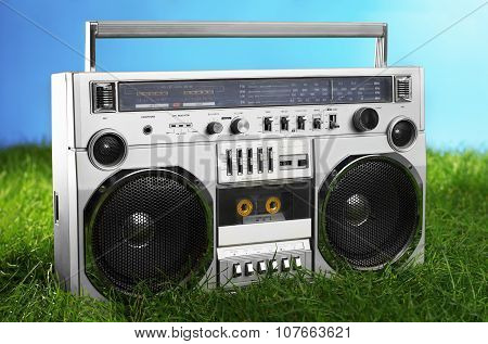 1980S Silver Boom Box Blaster Over Fresh Green Grass