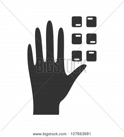 Disability Pictogram Braille Flat Icon Hand Isolated On White