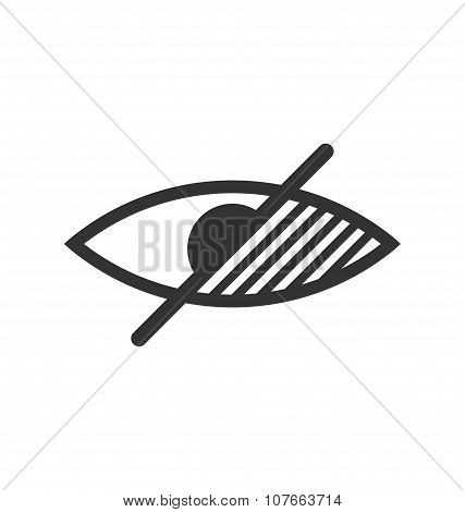 Disability Pictogram Blind Flat Icon Hand Isolated On White