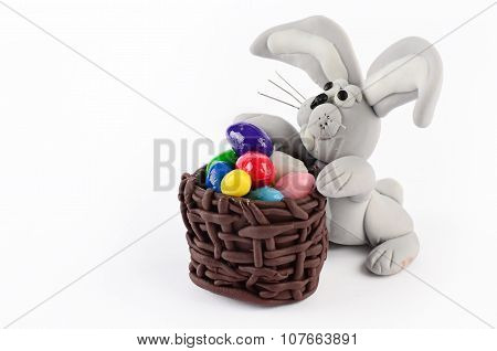 Colorful Easter Eggs And Rabbit Isolated On White