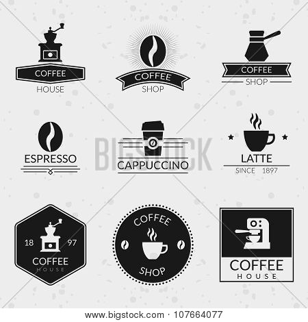 Vintage coffee vector labels and logos set