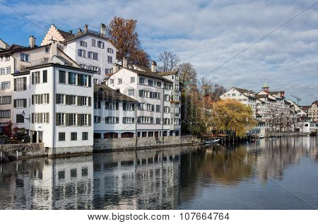 View On The Schipfe Quarter And The Limmat River In Zurich