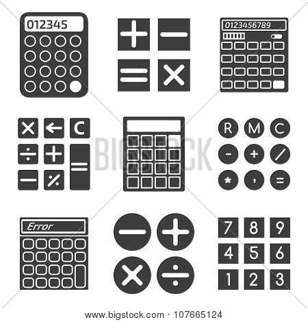 Calculator vector icons set