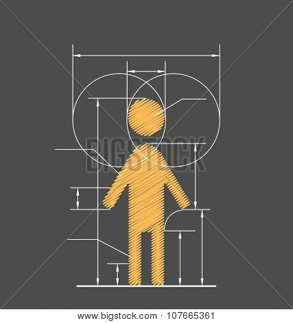 Drawing Symbolized Human Resource Isolated On Gray