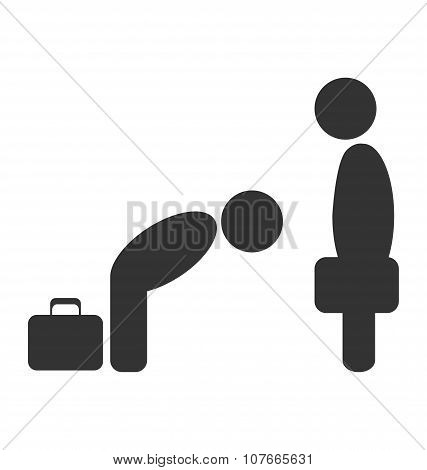 Greeting Etiquette Business Situation Icon Isolated On White