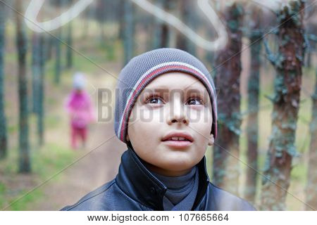 child listen nature portrait double exposure selective focus