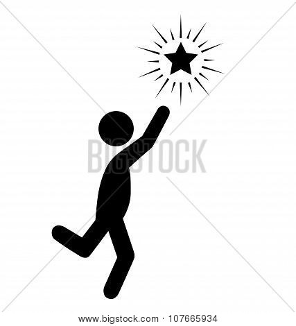 Reach The Star People Flat Icons Pictogram Isolated On White