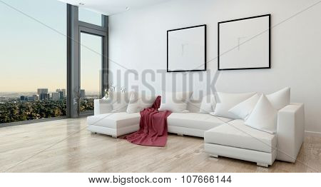 Architectural Interior of Open Concept Apartment in High Rise Condo - Red Throw Blanket on White Sectional Sofa in Open Concept Modern Living Room with Modern Furnishings. 3d Rendering
