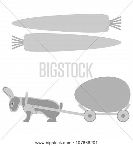Grey Rabbit Pulls A Cart With Egg And Carrot Frames On White
