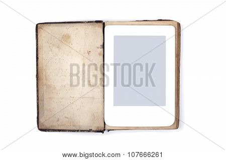 Old book and ebook isolated on white background