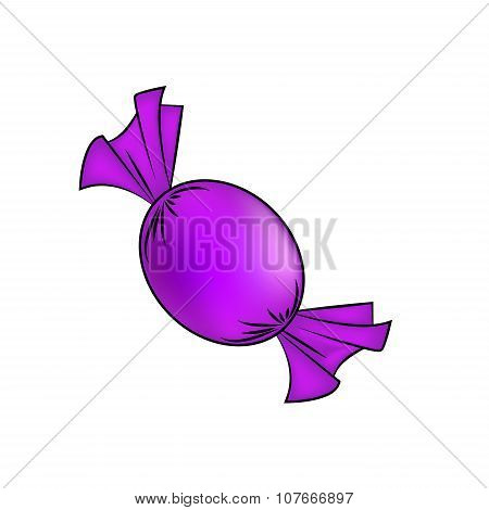 Christmas Wrapped Candy. Purple Packaged Sweet, Goody In A Piece Of Paper. Vector Illustration Isola