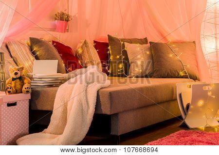 Stylish Bed With Decorative Lighting