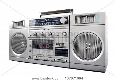 1980S Silver Retro, Boom Box And Headphone Isolated On White. Right Side