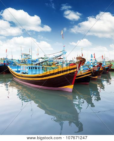 Vietnam, Phan Thiet, Mui Ne - fishing boats in harbor.
