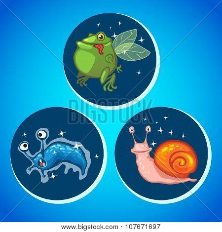Three cartoon animals, vector icons