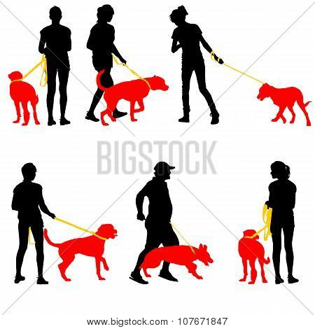 Silhouettes Of People And Dogs. Vector Illustration.