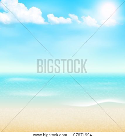 Beach Seaside Sea Shore Clouds. Summer Vacation Background