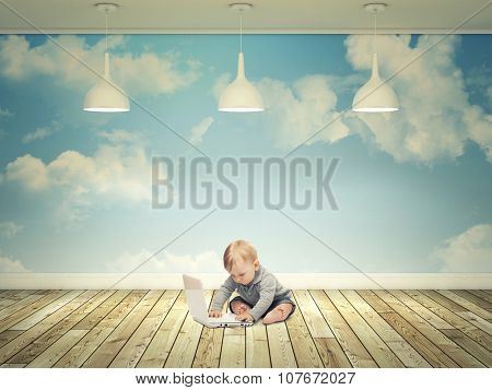 little kid with pc and abstract 3d indoor