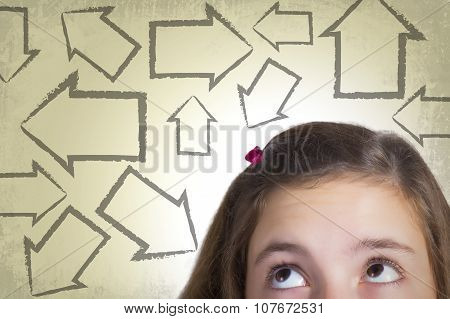Close Up Teenage Girl Looking At Arrows