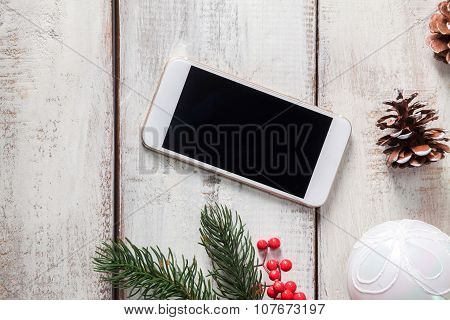 The wooden table with a phone
