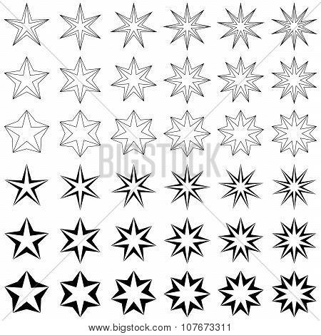 Black star shape set