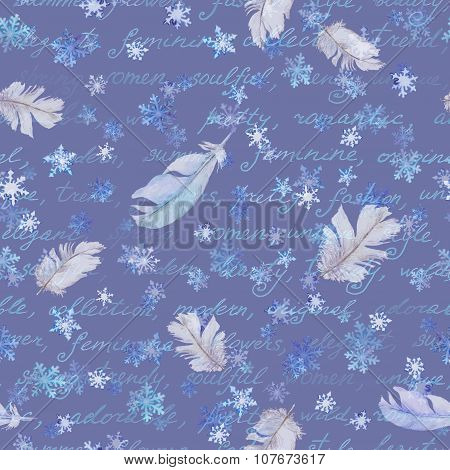 Winter repeated pattern with snow and feathers, watercolor