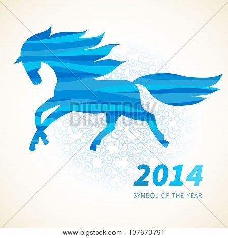 Horse, Decorated With Blue Abstract Wave Patterns.