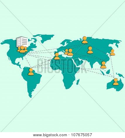 Outsourcing Image With World Map And Icons On Blue