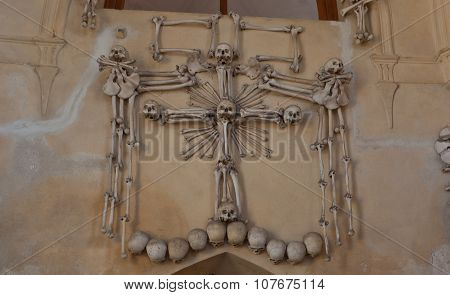 Skeletons Above The Entrance Of Sedlec Ossuary