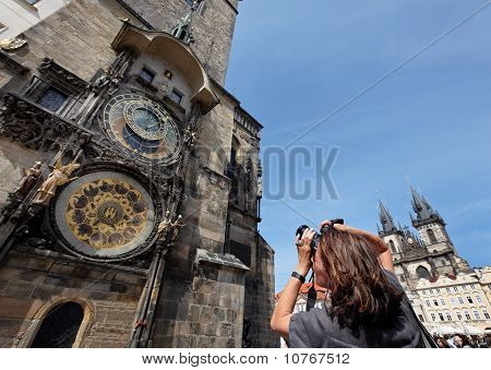 Prague Astronomical Clock and Church of the Virgin Mary