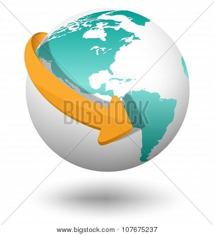 Emblem With White Globe And Orange Arrow On White