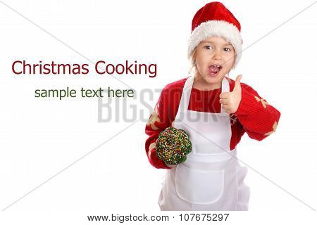 Girl dressed as a Christmas elf on isolated background. Christmas Cooking