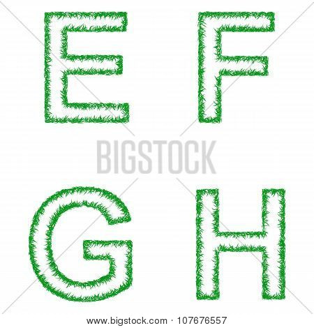 Green grass font set - letters E, F, G, H