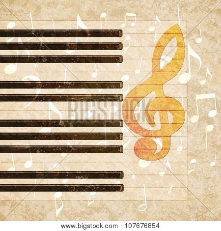 musical background piano keys and musical notes
