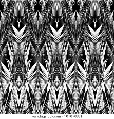 art monochrome ornamental ethnic styled horizontal seamless pattern with symmetrical zigzag; blurred watercolor background in black and white colors. Pat 5