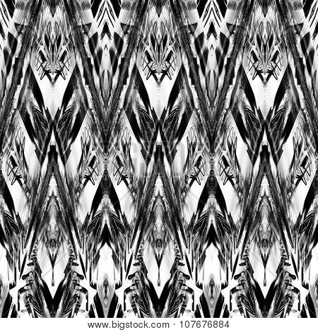 art monochrome ornamental ethnic styled horizontal seamless pattern with symmetrical zigzag; blurred watercolor background in black and white colors. Pat 2