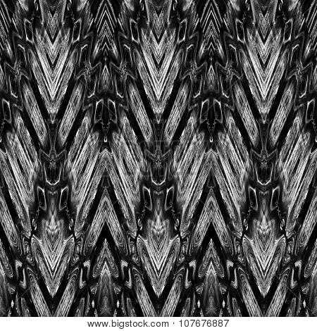 art monochrome ornamental ethnic styled horizontal seamless pattern with symmetrical zigzag; blurred watercolor background in black and white colors. Pat 15