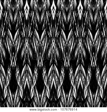 art monochrome ornamental ethnic styled horizontal seamless pattern with symmetrical zigzag; blurred watercolor background in black and white colors. Pat 20