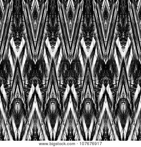 art monochrome ornamental ethnic styled horizontal seamless pattern with symmetrical zigzag; blurred watercolor background in black and white colors. Pat 21