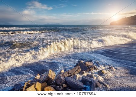 Fantastic sea view with blue sky and strong storm waves. Dramatic and picturesque scene. Location Gioiosa Marea. Lipari island, Sicilia, Italy, Europe. Mediterranean and Tyrrhenian sea. Beauty world.