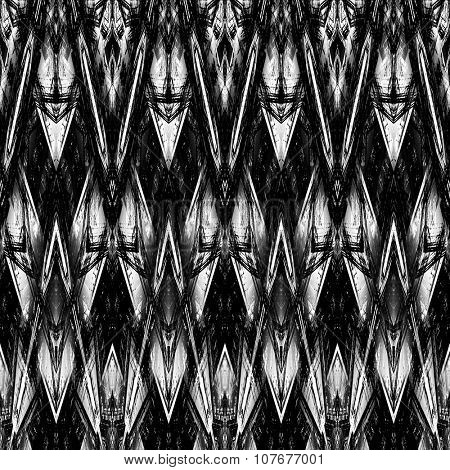 art monochrome ornamental ethnic styled horizontal seamless pattern with symmetrical zigzag; blurred watercolor background in black and white colors. Pat 22