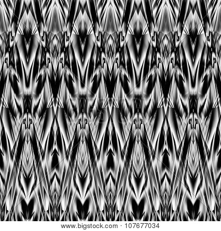 art monochrome ornamental ethnic styled horizontal seamless pattern with symmetrical zigzag; blurred watercolor background in black and white colors. Pat 30