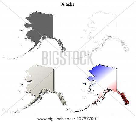 Alaska outline map set
