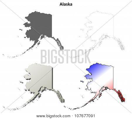 Alaska outline map set