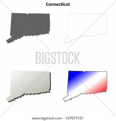 Connecticut outline map set
