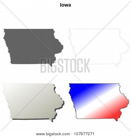 Iowa outline map set