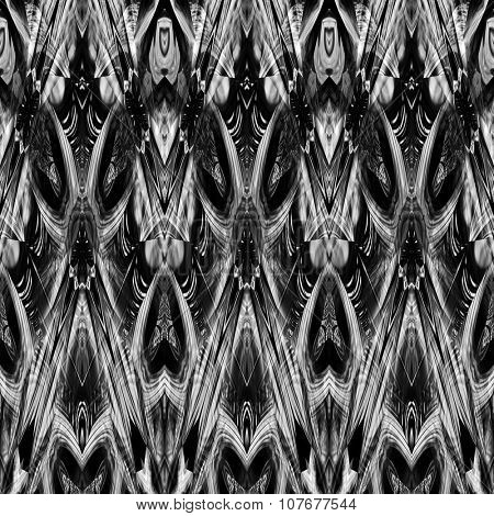 art monochrome ornamental ethnic styled horizontal seamless pattern with symmetrical zigzag; blurred watercolor background in black and white colors. Pat 13