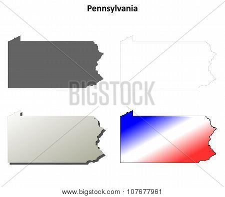 Pennsylvania outline map set