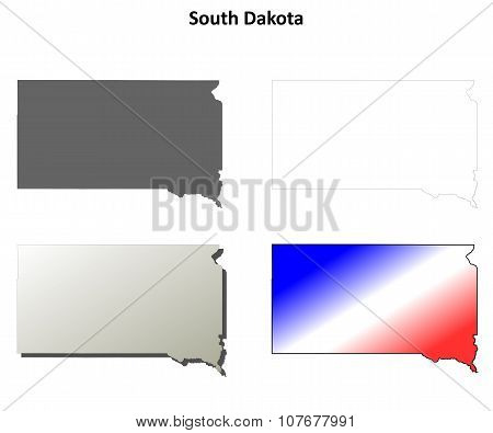 South Dakota outline map set